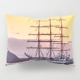 Frigate at sunset Pillow Sham