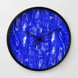 Subtle interweaving of sparkling smudges from blue lava and light chaotic cycle. Wall Clock