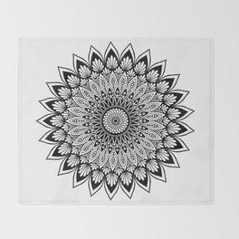 Sacred Lotus Black and White Mandala - LaurensColour Throw Blanket
