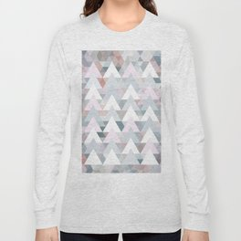 Pastel Graphic Winter Trees on Geometry #abstractart Long Sleeve T-shirt