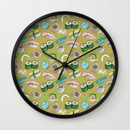 Sushi, Yum! in gold Wall Clock