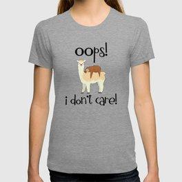 I Don't Care Sloth Llama Lover Sarcasm Sarcastic Misanthrope T-shirt