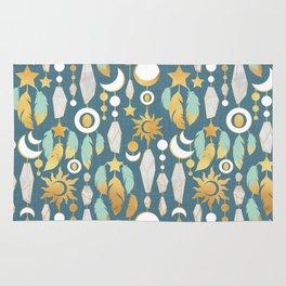 Bohemian spirit // dark turquoise background Rug