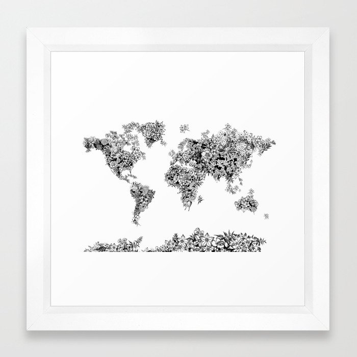 Floral world map black and white framed art print by bekimart society6 gumiabroncs Gallery
