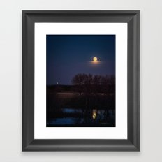 Supermoon Reflected Framed Art Print