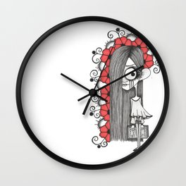 Lonely girl and a book Wall Clock