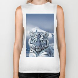Blue White Tiger Biker Tank