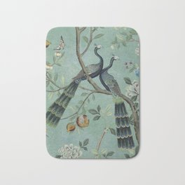 A Teal of Two Birds Chinoiserie Bath Mat