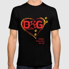 My Dog Rescue Love MEDIUM Black Mens Fitted Tee