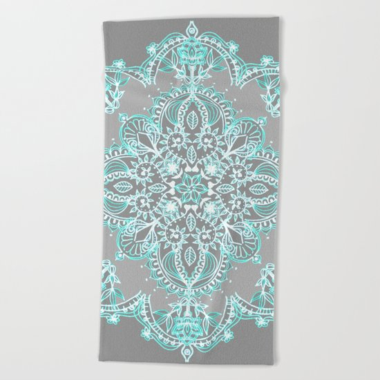 Teal and Aqua Lace Mandala on Grey Beach Towel