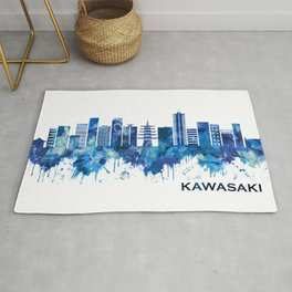 Kawasaki Japan Skyline Blue Rug