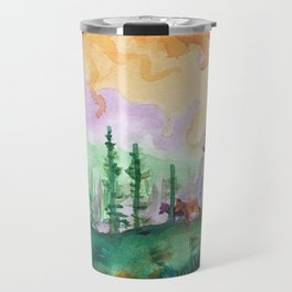 Black Bear and Cubs in Pine Forest Travel Mug