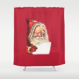 SANTA CLAUS READING A LETTER Shower Curtain