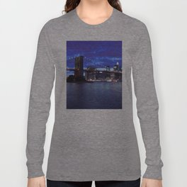 New York City Skyline Blue Long Sleeve T-shirt