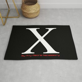 X - By Any Means Necessary Malcolm X Motif Rug