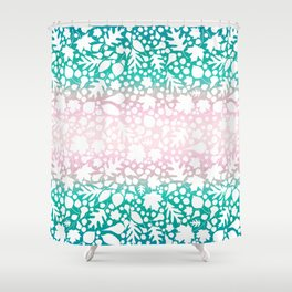 Pastel Pink and Green Fallen Reverse Leaves Leaf Pattern 3 Shower Curtain