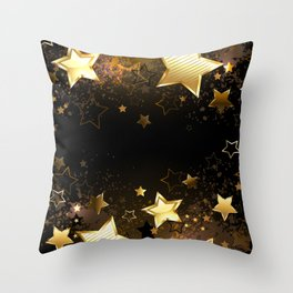 Background with golden stars Throw Pillow