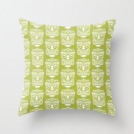Tiki Pattern Chartreuse Throw Pillow