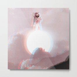 Astronaut on the Sun-Glitching Metal Print