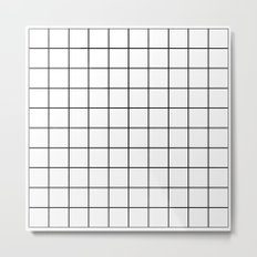 White Grid Metal Print