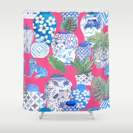 Chinoiserie chic, Chinese ginger jars on hot pink Shower Curtain