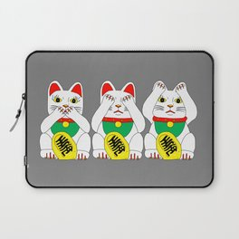 Three Wise Lucky Cats Laptop Sleeve
