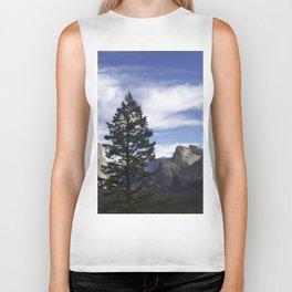 A Big Tree Against the Mountains Biker Tank