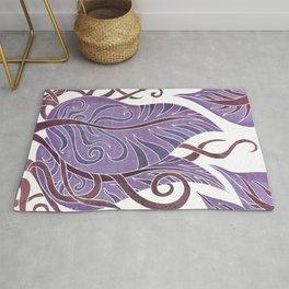 Leaf - Exotic Boho Leaf Pattern 02- Colorful, Modern, Tropical Art - Purple, Cosmic, Jagger Rug