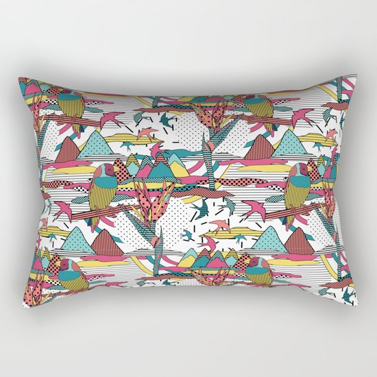 Pop art memphis 80's bird print Rectangular Pillow
