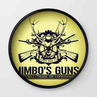 guns Wall Clocks featuring Jimbo's Guns by Silvio Ledbetter