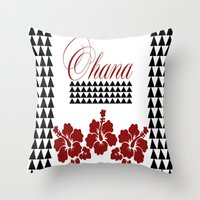 ohana Throw Pillows featuring OHANA DESIGN by Lonica Photography & Poly Designs