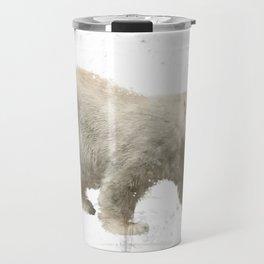 Digital Painting Of Polar Bear on white background Travel Mug
