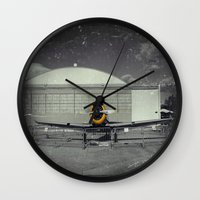 mustang Wall Clocks featuring Mustang by Jorgenson Art Syndicate