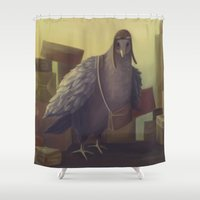 pigeon Shower Curtains featuring Messenger-pigeon by Svetlana Fictionalfriend