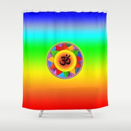Ohm with Chakra Colours Shower Curtain