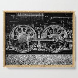 Steam Locomotive Drive Wheels Black and White Train Tracks Serving Tray