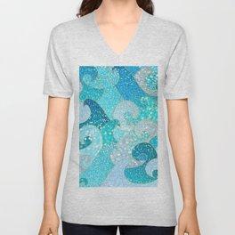 Mermaid Waves And Sea Faux Glitter - Sun Light Over The Ocean Unisex V-Neck