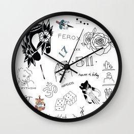 Halsey's Tattoos Wall Clock