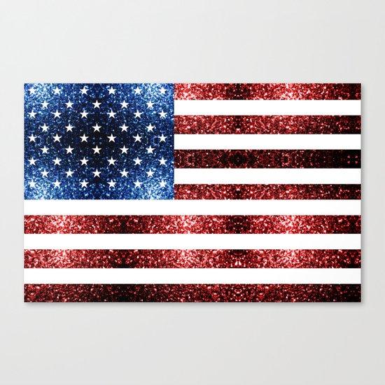 USA flag red blue sparkles glitters Canvas Print
