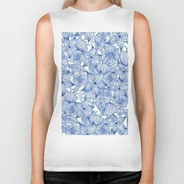 Modern royal blue white hand painted watercolor floral Biker Tank