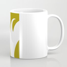 Geometric Abstract Floral Design Pattern Mustard  Coffee Mug