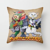 "warhammer Throw Pillows featuring Furhammer ""P'Orc and Dark Ferret"" by the Artisan Rogue"