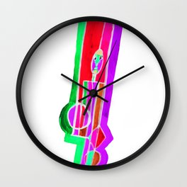 Man with Colorful Geometry in Pink-Red-Green Wall Clock