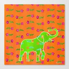 Elephant - green Canvas Print