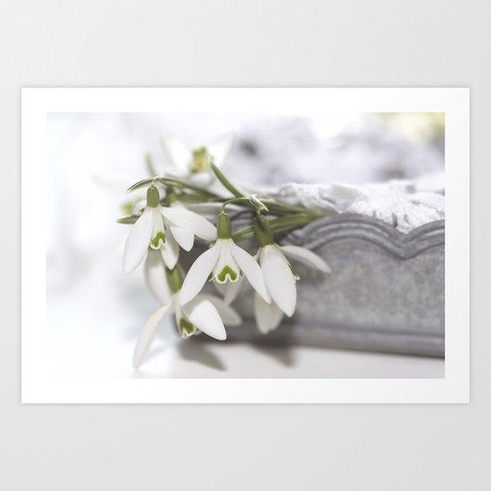 Snowdrops still life - Flower Floral Flowers #Society6 Art Print