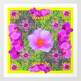 Yellow Pattern Pink Roses & Purple Orchids Abstract Art Print
