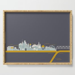 """City on a """"Plate"""" (Night) Serving Tray"""