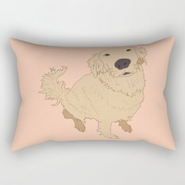 Golden Retriever Love Dog Illustrated Print Rectangular Pillow