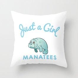 Manatee designs for Women & Girls Throw Pillow