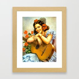 Mexican Calendar Girl with Guitar by Jesus Helguera Framed Art Print